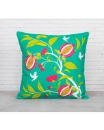 India Cirucs Fruits of The Tropic Green Cotton Cushion Cover