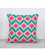 India Cirucs Lattice Practice Turquoise Blue Cotton Cushion Cover
