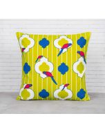 India Cirucs Peeking Parrots Green Cotton Cushion Cover