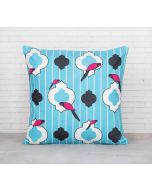 India Cirucs Peeking Parrots Turquoise Cotton Cushion Cover