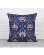 India Cirucs Poly Palmeira Blue Cotton Cushion Cover