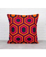 India Cirucs Prismatic Hexagons Crimson Cotton Cushion Cover