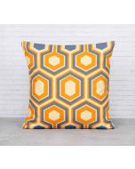 India Cirucs Prismatic Hexagons Lemon Cotton Cushion Cover