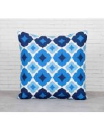 India Cirucs Ultramarine Tracery Sapphire Cotton Cushion Cover