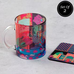 (2 Glass Mugs + 2 MDF Coasters) Mystical Empire Combo