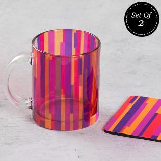 (2 Glass Mugs + 2 MDF Coasters) Life is a Blur Combo