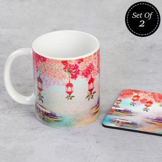 (2 Ceramic Mugs + 2 MDF Coasters) Scarlet Shadows Combo