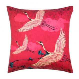 Legend of the Cranes Poly Taf Silk Cushion Cover