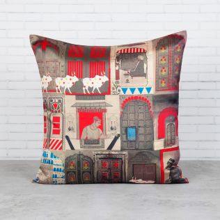 Doors Of Mystical Wonder Blended Taf Silk Cushion Cover