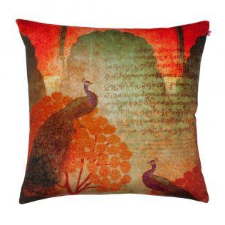 Sunset Peacocks Poly Velvet Cushion Cover