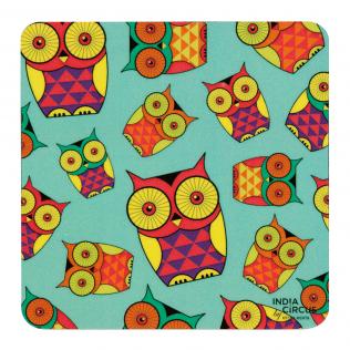 Peeking Owls Rubber Coasters - (Set of 6)