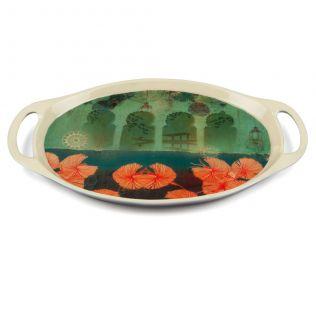 Leaves and Lanterns Oval Serving Platter