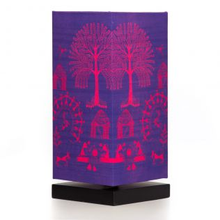 Warli Village Rectangle Table Lamp