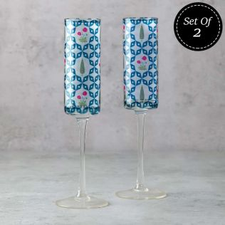 Flowers and Ferns Champagne Glasses (Set of 2)