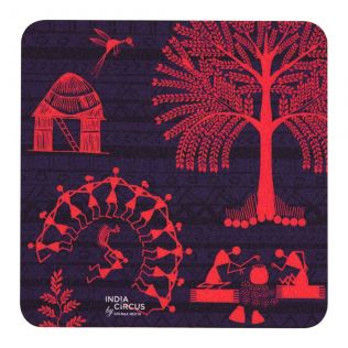 Warli Village PVC Coaster - (Set of 6)