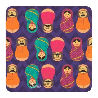 Desi Matryoshka Dolls PVC Coaster - (Set of 6)