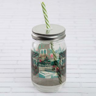 Aquamarine Echoes Mason Glass Jar