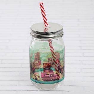 City of Splashes Mason Glass Jar