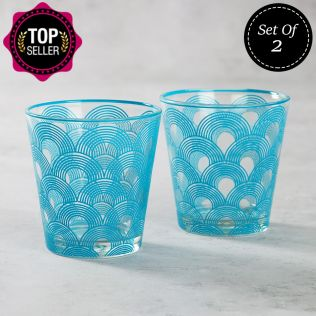 Aqua Concentricity Glass Tumbler (Set of 2)