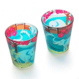 Flourish of Periyar Frosted Shot Glasses (Set of 2)