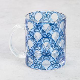 Aqua Concentricity Glass Mug