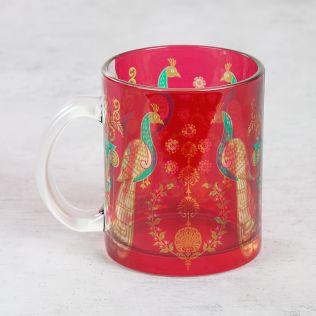 Twin Indian Peafowl Glass Mug