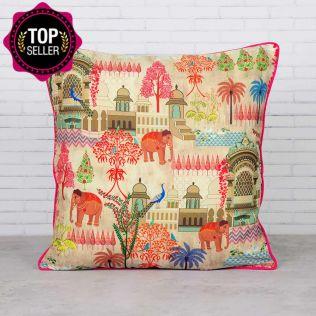 Mughal Treasures Satin Blend Cushion Cover