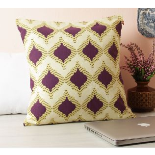 India Circus Lattice Practice Marsala Red Cotton Cushion Cover