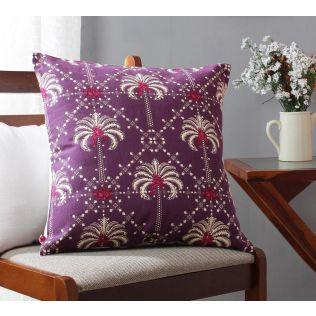 India Circus Poly Palmeira Sepia Cotton Cushion Cover