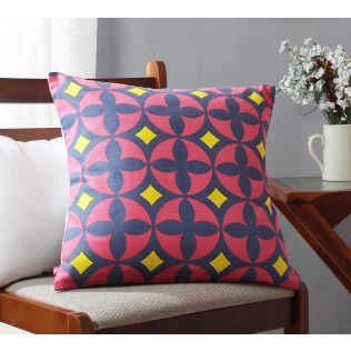 India Circus Elixir of Geometry Magenta Cotton Cushion Cover