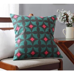 India Circus Elixir of Geometry Viridescent Cotton Cushion Cover