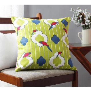 India Circus Peeking Parrots Green Cotton Cushion Cover