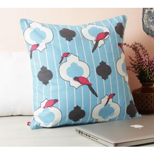 India Circus Peeking Parrots Turquoise Cotton Cushion Cover