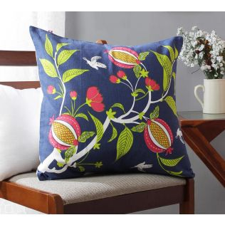India Circus Fruits of The Tropic Blue Cotton Cushion Cover