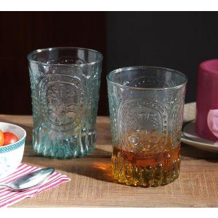 India Circus Teal Glass Tumbler (Set of 2)