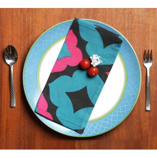 India Circus Ultramarine Tracery Cocktail Napkins Set of 6