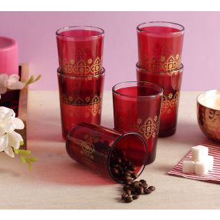 India Circus Lionheart Maroon Moroccan Glasses Set of 6
