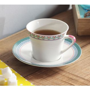 India Circus Rose Creeper Cup & Saucer