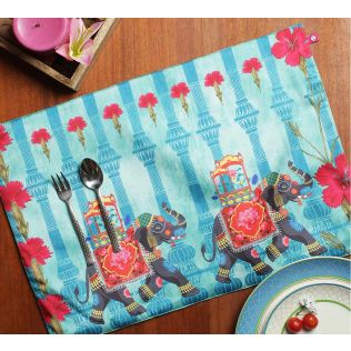 India Circus Tusker Chariot Table Mats Set of 6