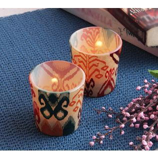India Circus Flirtatious Flowers Tea Light Holder Set of 2