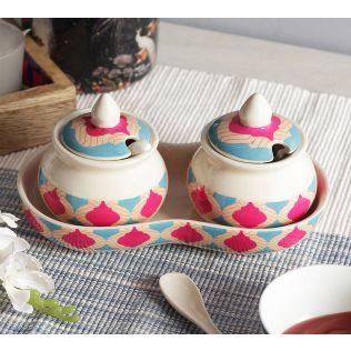 India Circus Lattice Practice Ceramic Pickle Jar