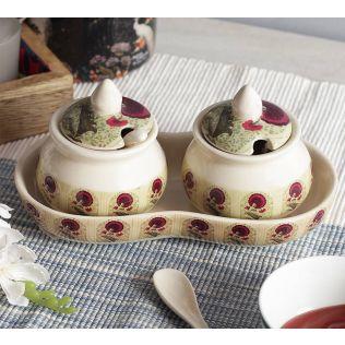 India Circus Flower Regalia Ceramic Pickle Jar