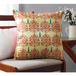 India Circus Cream Mystical Pomegranate Blended Velvet Cushion Cover