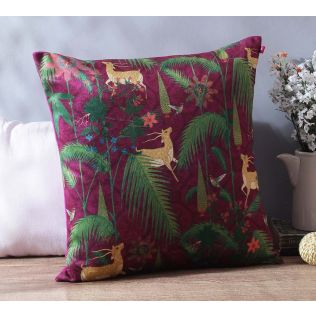 India Circus Forest Fetish Blended Velvet Cushion Cover