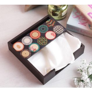 India Circus Platter Portrayal Tissue Holder