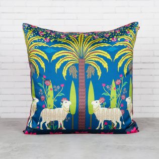 Herd of Arecacea Blended Taf Silk Cushion Cover