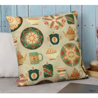 India Circus All About Tea Canvas Cushion Cover