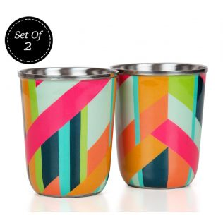 India Circus Arrow Exposition Steel Tumblers Set of 2