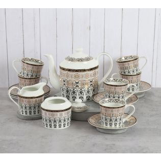 India Circus Artisans Impression Tea Cup & Saucer Set of 17 pcs
