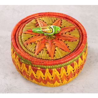 India Circus Badohi Hand Woven Yellow Basket